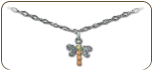 Sterling Silver Dragonfly Ankle Bracelet (SKU: BR505ASS)