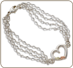 Sterling Silver 4-chain Heart Bracelet with Black Hills Gold Leaves (SKU: BR509SS)
