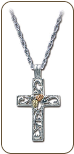 Sterling Silver Cross Pendant with Black Hills Gold Leaves (SKU: CR657SS)