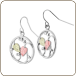Sterling Silver Ladies Earrings with Black Hills Gold Leaves (SKU: ER1006SS)