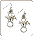 Sterling Silver Snowman Earrings with Black Hills Gold Leaves (SKU: ER1024SS)
