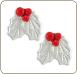 Sterling Silver Earrings with Holly Berries  (SKU: ER1025SS)