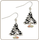 Sterling Silver Christmas Tree Earrings with Black Hills Gold Leaves (SKU: ER415SS)