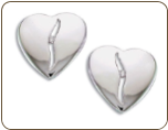 BB. Sterling Silver Diamond Heart Earrings (SKU: ER5001XSS)