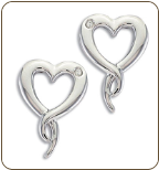 DD. Sterling Silver Diamond Heart Earrings (SKU: ER5007XSS)