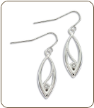 GG. Sterling Silver Diamond Earrings (SKU: ER5010XSS)