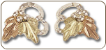 Sterling Silver Ladies Earrings with Black Hills Gold Leaves (SKU: ER631PSS)