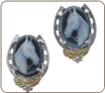 Sterling Silver Horse Earrings with Black Hills Gold Leaves and Horse Cameo (SKU: ER654PSS-152)