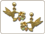 Black Hills Gold Hummingbird Earrings with Black Hills Gold Leaves, for Pierced Ears (SKU: ER793PD)