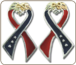 "Sterling Black Hills Silver ""I Support America"" Ribbon Earrings (SKU: ER946SS)"