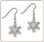 Sterling Silver Snowflake Earrings with Clear Cubic Zirconia (SKU: ER969SS-101)