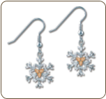 Sterling Silver Snowflake Earrings with Black Hills Gold Leaves (SKU: ER972SS)