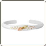 White Powder Coated Cuff Bracelet with Black Hills Gold Leaves (SKU: G LBR506/WHT)