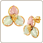 Black Hills Gold Classic Earrings with Leaves, for Pierced Ears (SKU: G LER166)