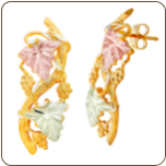 Black Hills Gold Classic Earrings with Leaves, for Pierced Ears (SKU: G LER186)