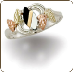 Ladies Sterling Black Hills Silver Onyx and Mother of Pearl Ring (SKU: LR2436SS-449)