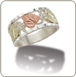 K3. Sterling Silver Ladies Band with Black Hills Gold Leaves (SKU: LR2645SS)