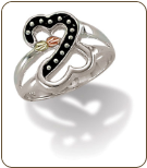 Sterling Silver Heart Ring with Antiquing and Leaves (SKU: LR2970SS)