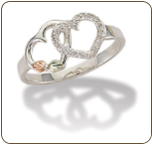 Sterling Silver Heart Ring with Black Hills Gold Leaves (SKU: LR3019SS)