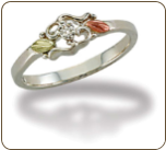 Sterling Silver Ladies Diamond Ring with Black Hills Gold Leaves (SKU: LR3025XSS)