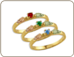 Black Hills Gold Mothers Ring with Birthstones, Stackable! (SKU: LR3029)