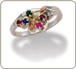 Black Hills Silver Mothers Ring with Birthstones (SKU: LR3035BSS)