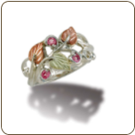 Sterling Silver Ladies Ring with Black Hills Gold Leaves and Birthstones (SKU: LR3045SS)