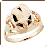Ladies Black Hills Gold Onyx Ring with Eagle (SKU: LR3053)