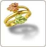 Ladies Black Hills Gold Ring with Pink & Green Leaves (SKU: LR3054)