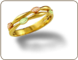 Ladies Black Hills Gold Ring with Pink & Green Leaves (SKU: LR3059)