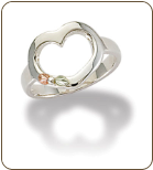Sterling Silver Heart Ring with Black Hills Gold Leaves (SKU: LR3075SS)