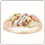 Ladies Black Hills Gold Ring with Diamonds and Black Hills Gold leaves (SKU: LR770X)