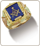 Men's Black Hills Gold Masonic Ring with Leaves (SKU: MR295)