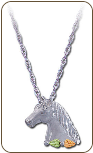 Sterling Silver Horse Pendant with Black Hills Gold Leaves (SKU: 03761SS)