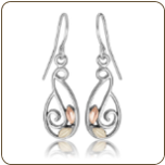 Sterling Silver Ladies Earrings with Black Hills Gold Leaves (SKU: ER1915SS)