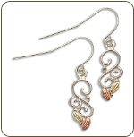 Sterling Silver Ladies Earrings with Black Hills Gold Leaves (SKU: ER2310SS)