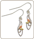 Sterling Silver Ladies Earrings with Black Hills Gold Leaves (SKU: ER3231SS)