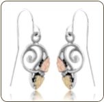 Sterling Silver Ladies Earrings with Black Hills Gold Leaves (SKU: ER3762SS)