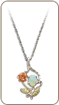 Sterling Black Hills Silver Opal Pendant with Gold Rose (SKU: PE603SS)