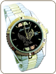 Mens Landstroms Watch with Black Hills Gold Eagle, Metal Band, BLACK Dial (SKU: MWB531)