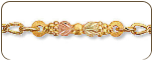 Black Hills Gold Ankle Bracelet with Leaves and Grapes (SKU: P713A)