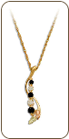 Black Hills Gold Journey Necklace with Cubic Zirconia and Sapphires (SKU: PE1012)