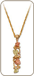 Black Hills Gold Pendant with Leaves (SKU: PE1047)