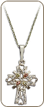 Sterling Silver Cross Pendant with Black Hills Gold Leaves (SKU: PE1141SS)