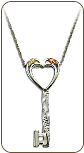Black Hills Silver Key and Heart Pendant with Black Hills Gold Leaves (SKU: PE1143SS)