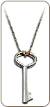 Black Hills Silver Key Pendant with Black Hills Gold Leaves (SKU: PE1146SS)