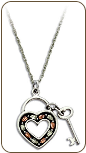 Black Hills Silver Skeleton Key and Heart Pendant with Black Hills Gold Leaves (SKU: PE1152SS)
