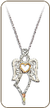 Sterling Silver Angel Pendant with Heart and Black Hills Gold Leaves (SKU: PE1156SS)