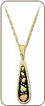 Black Hills Gold Antique Pendant with Leaves  (SKU: PE1708)