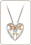 Sterling Silver Hummingbird Heart Pendant with Black Hills Gold Leaves (SKU: PE1935SS)